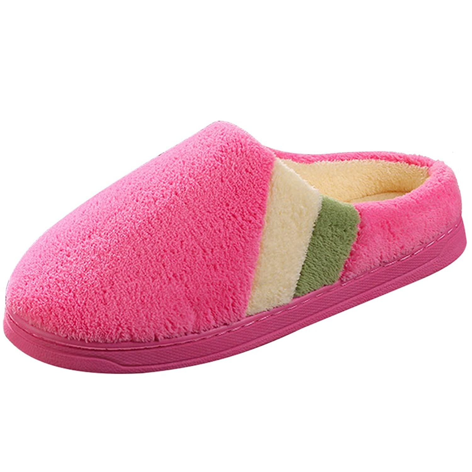 1b6c83361ec0 on sale SITAILE Women Men Home Indoor Warm Shoes Suede Plush Fleece Slipper  Soft Fur Stripe