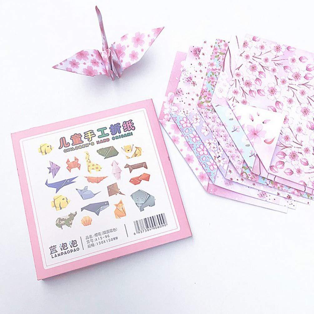 15cm 54pcs Papier Origami Motif Double Faces Sakura DIY Craft Artisanat Hongma 15