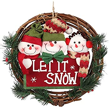 D-FantiX Christmas Wreath for Front Door, 14 inch Small Door Wreaths Indoor Holiday Christmas Decorations Seasonal Home Docer (Three Snowman, Let It Snow)