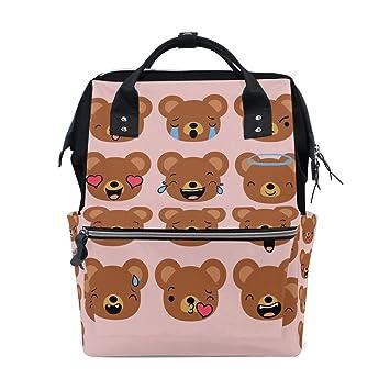 Divertida mochila escolar con diseño de emoticonos rosas, bolso de viaje, bolso de pañales