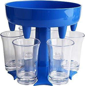 6 Shot Glass Dispenser and Holder With 6 Small Glasses Dispenser For Filling Liquids Bar Shot Dispenser Cocktail Dispenser With Slogan Carrier Liquor Dispenser Gifts,Blue