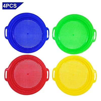 Per 4 Pack/Set Stop Sand Sifter Sieves Toy for Sand Beach Red Blue Yellow Green: Toys & Games