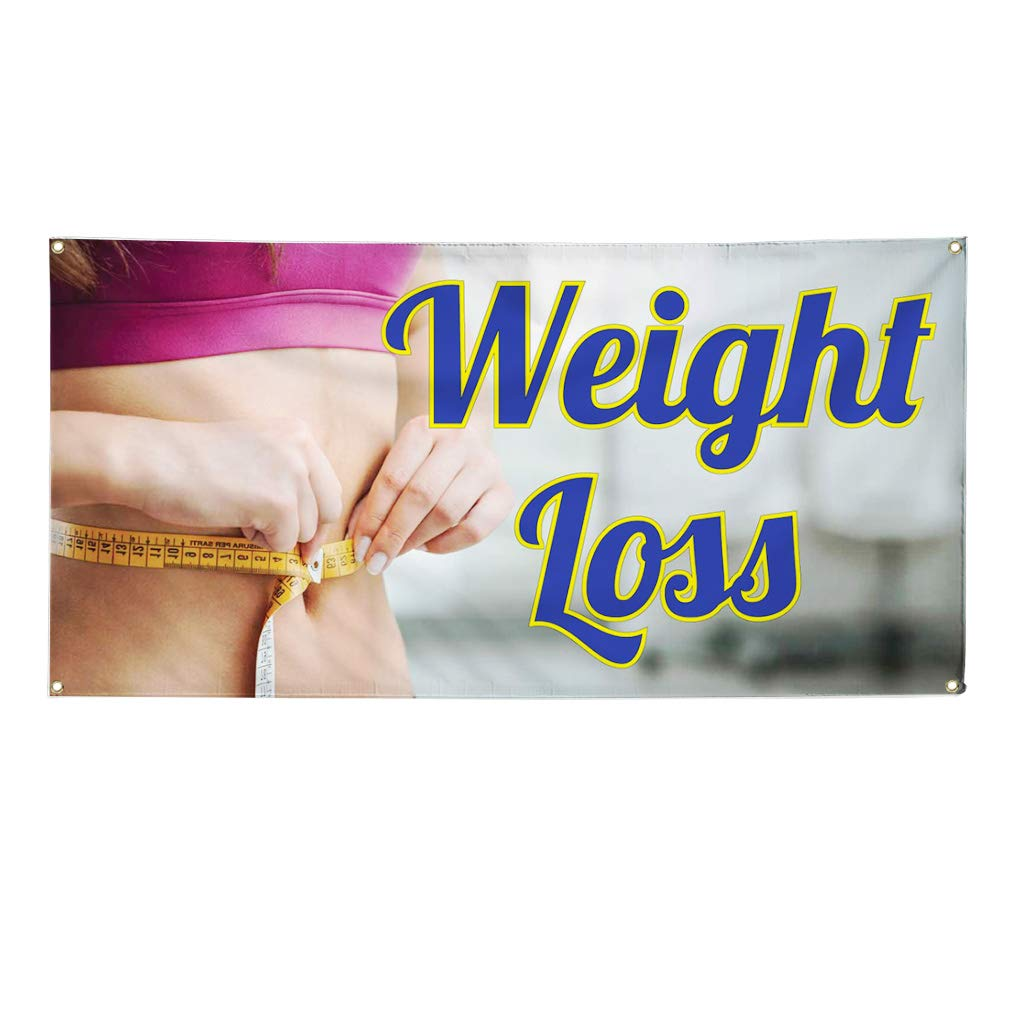 24inx60in 4 Grommets Set of 3 Multiple Sizes Available Vinyl Banner Sign Weight Loss #1 Style A Business Health Marketing Advertising Blue