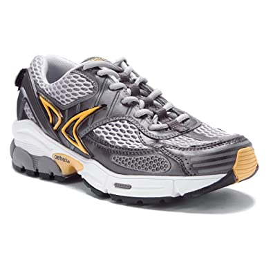 Aetrex Men's Edge Runners Walking Shoe, Gunmetal/Yellow, ...