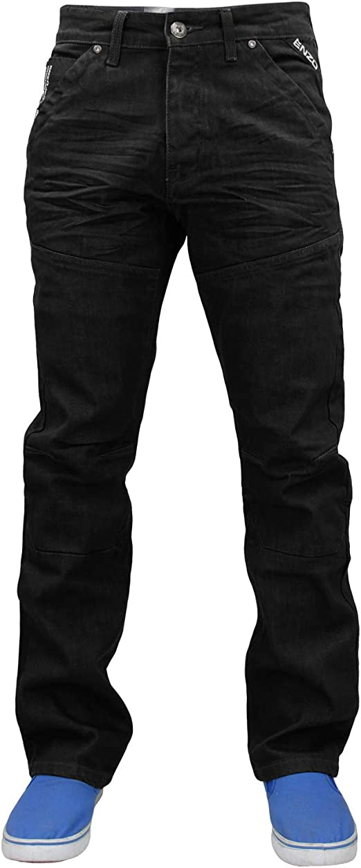 New Mens ENZO Blue Designer Denim Jeans Straight Fit Leg Belt All Waist Sizes