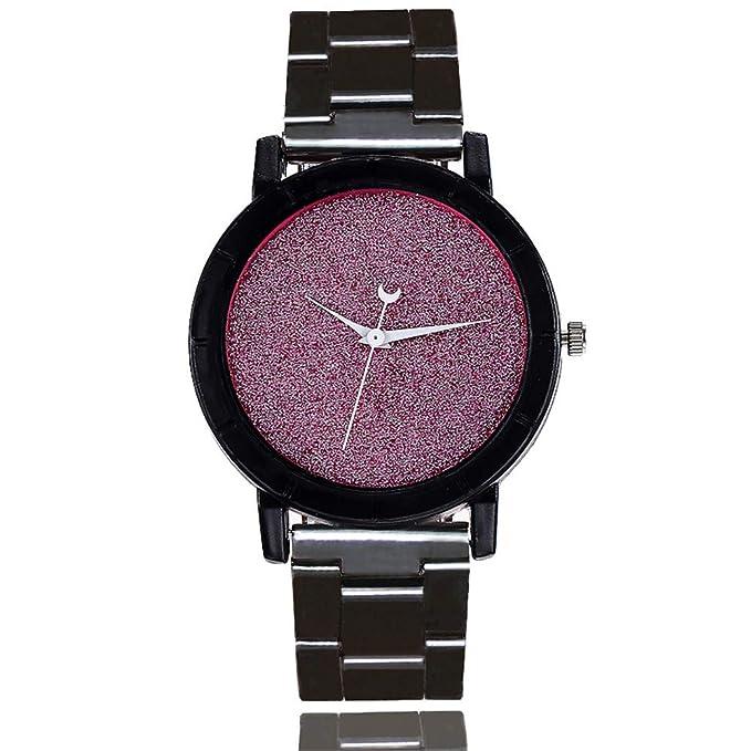 DressLksnf Reloj Lujo Moda de Mujer Pulsera Acero Inoxidable Durable Correa de Metal Lazo Digital Superficie de Lentejuela Clásico Banda de Reloj Cadena ...