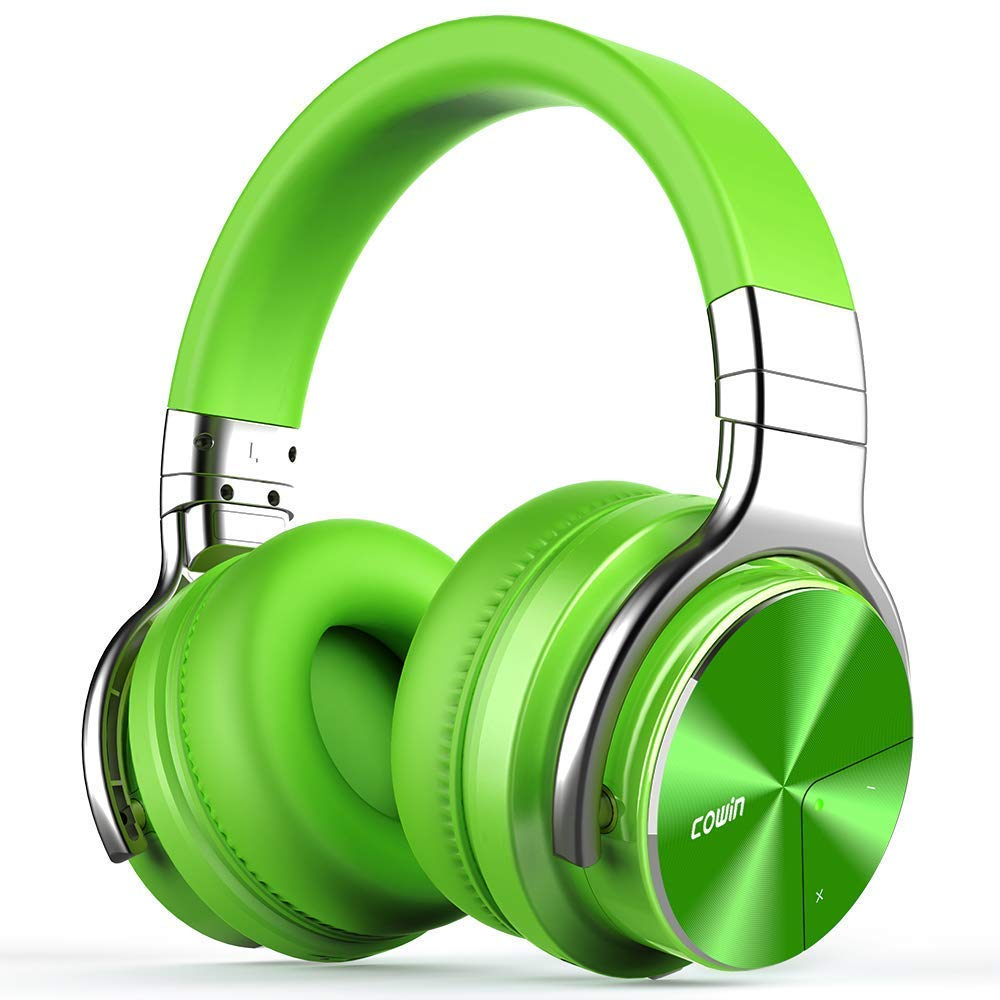 COWIN E7 Pro Active Noise Cancelling Headphones Bluetooth Headphones Wireless Headphones Over Ear with Mic Deep Bass, 30H Playtime for Travel Work TV Computer Cellphone – Green