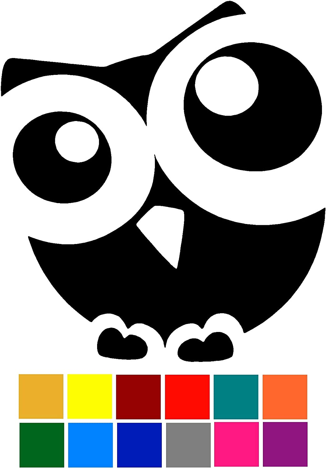 Owl Cute Big Eyes Decal Sticker Vinyl Car Window Tumblers Wall Laptops Cellphones Phones Tablets Ipads Helmets Motorcycles Computer Towers V and T Gifts
