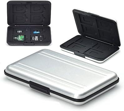 flycoo estuches para tarjetas memoria protección antigolpes antipolvo impermeable antimagnétique caja para 8 SD tarjetas 8 TF/Micro SD Tarjetas plateado plata: Amazon.es: Informática