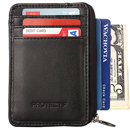 06. Rfid Blocking Sleeves Front Pocket Wallet for Men, Secure Sleeve Mini Card Holder with Zipper and Id Window, Genuine Leather Durable Slim Wallets