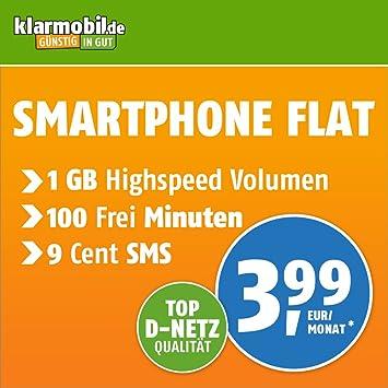 Klarmobil Sim Karte.Klarmobil Smartphone Flat M Mit 1 Gb Internet Flat Max 21 6 Mbit S 100 Frei Minuten In Alle Deutschen Netze Eu Roaming 24 Monate Laufzeit