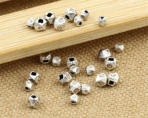 - Luoyi Handmade Thai Sterling Silver Faceted Beads for DIY Jewelry, Hole:1mm (S027G) (3mm)