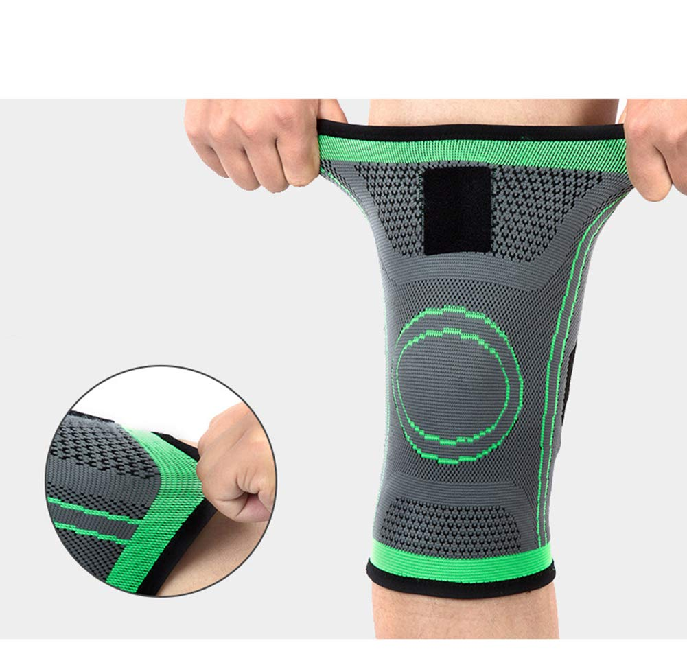 Knieunterstützung (1 Stück), Männer Und Frauen Sportbasketball Stricken Vierseitige Elastische Bandagen Knieschützer Outdoor-Klettern Fitness-Laufbekleidung,S