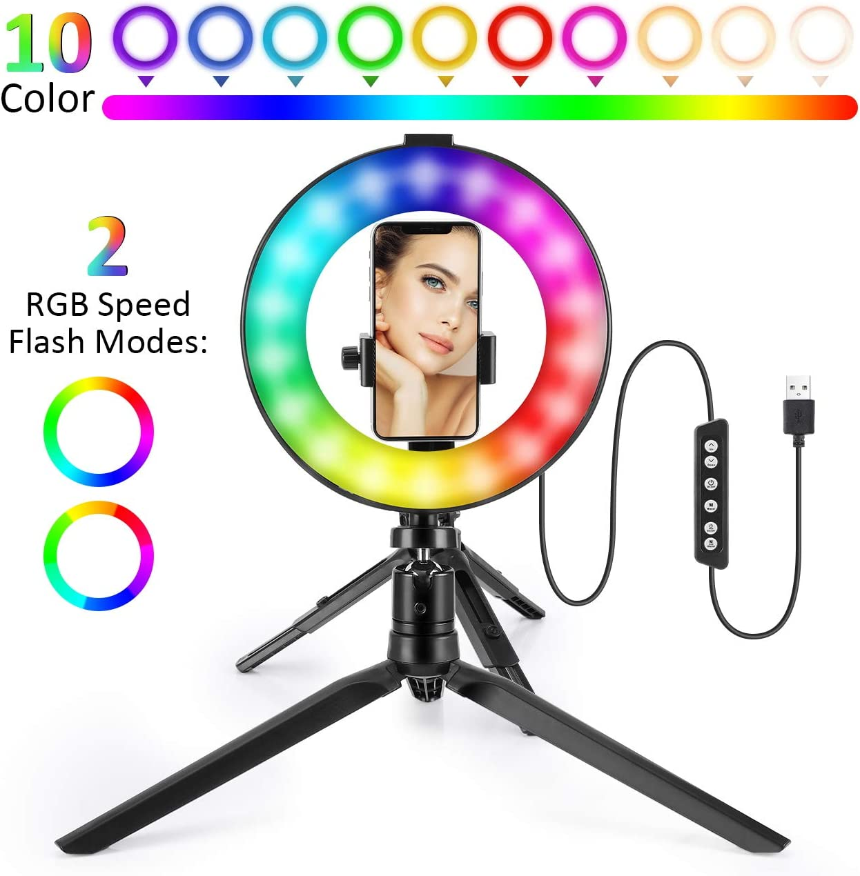 Make-up Ringlight Selfie RGB Rainbow Circle-light with Tripod Photography Lamp Kit Portable Desktop LED Filming light for lighting Enthusiast Videos Recording Live-Streaming Makeup artists vloggers-6""