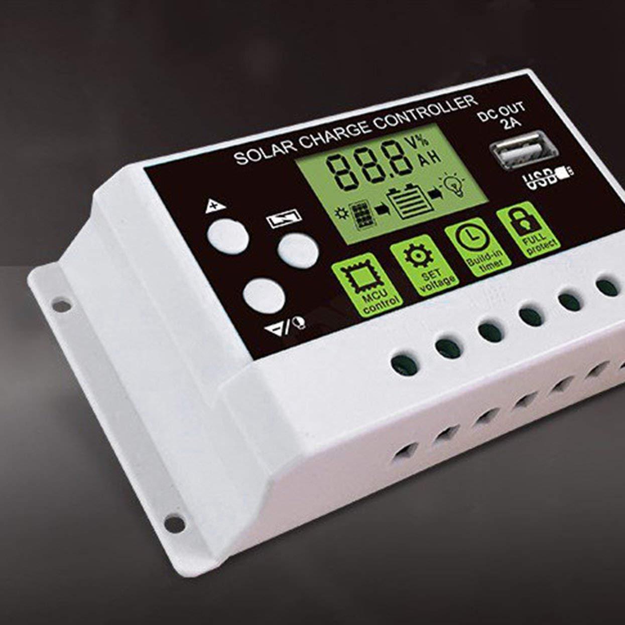 24 V Solarladeregler Wechselschalter LCD-Display Solarpanel Batterie Regler Laderegler f/ür Lithium-Batterie Tree-on-Life 10A 12 V