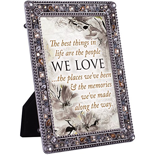 - Cottage Garden People Love Places and Memories Jeweled Pewter Colored 5 x 7 Easel Back Photo Frame