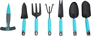 SUNORGREEN Garden Tools Set - 7 Piece Stainless Steel Heavy Duty Gardening Kit for Women/Grandparents/Parents (Blue/Black)