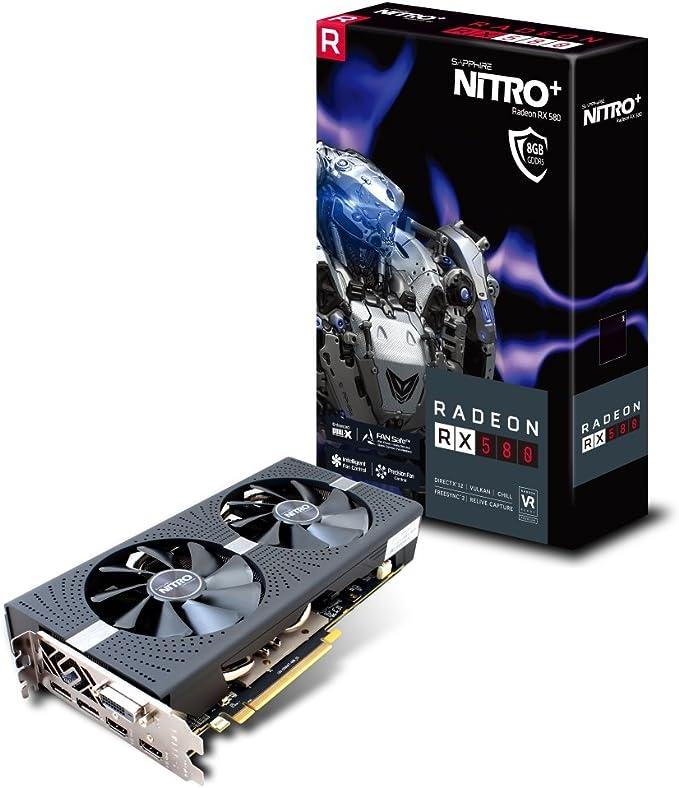 Sapphire RX 580 Nitro+ - Tarjeta gráfica de 8 GB, Color Negro: Sapphire: Amazon.es: Informática