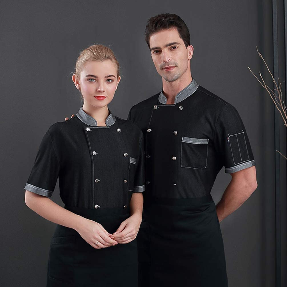 Mingdoo Camicia da Cucina Unisex Denim Giacca Manica Corta Mensa Hotel Uniformi da Cuoco