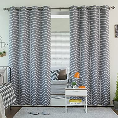 Best Home Fashion Room Darkening Chevron Print Curtains - Stainless Steel Nickel Grommet Top - Grey - 52 W x 84 L - (Set of 2 Panels)