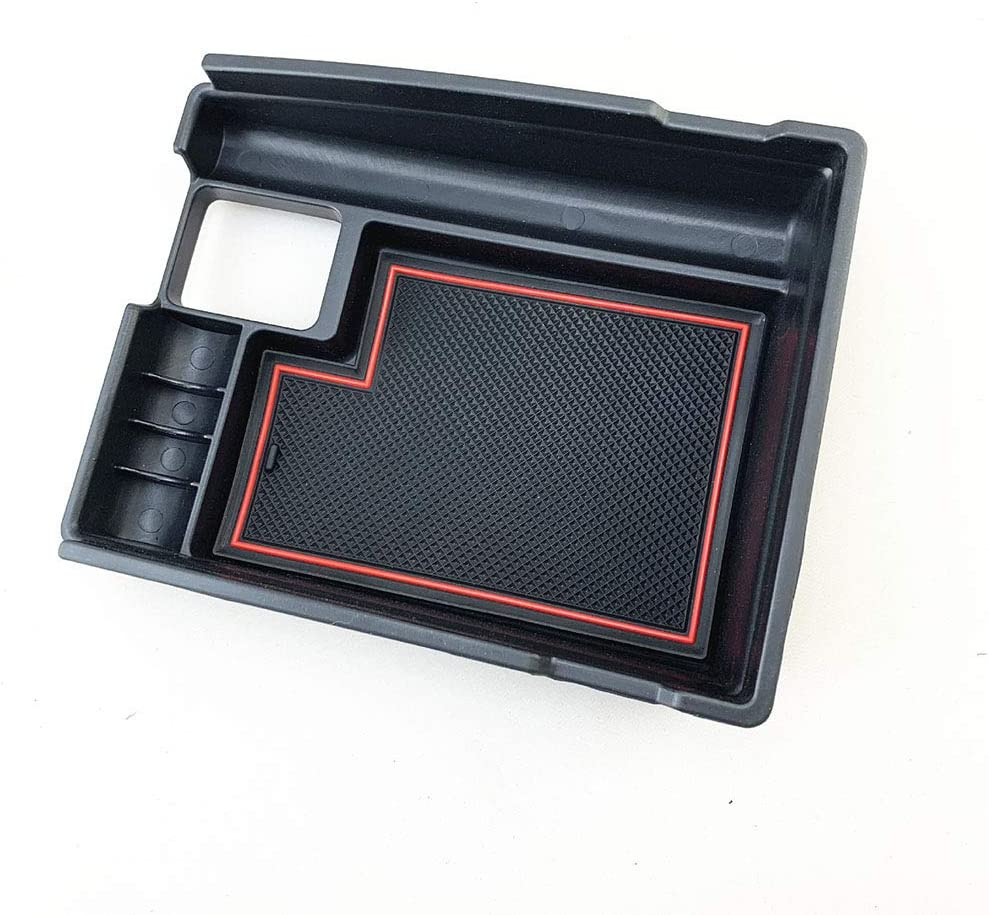 DishyKooker for NIS-san X-Trail RO-GUE 14-17 Car Glove Box Car Center Console Tray Armrest Storage Box Organizer Red line with Logo AutoAccessory