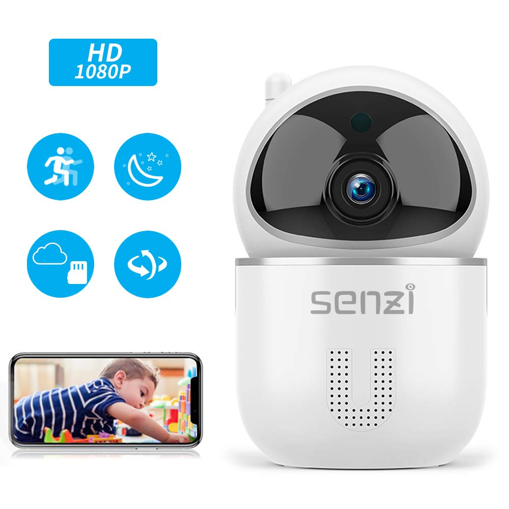 Wireless IP Camera – Senzi Security Camera 1080P Baby Monitor Pet Smart Auto Tracking Night Vision Motion Sound Detection 2.4GHz WiFi Pan Tilt Zoom Surveillance Camera Two-Way Audio Cloud Service