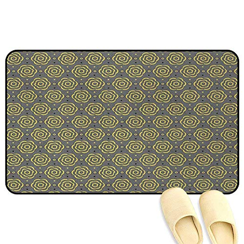 Bullseye Tattoo Designs - Abstract Floor Comfort Mat Floral Bullseye Pattern on a Bicolor Polka Dotted Background Doodle Design Grey Black Yellow Hard Floor Protection W39 x L63 INCH
