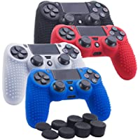 Kono Studded Silicone Cover Skin Case for Sony PS4/slim/Pro Dualshock 4 controller x 4(black+white+red+blue) With Pro thumb grips x 8