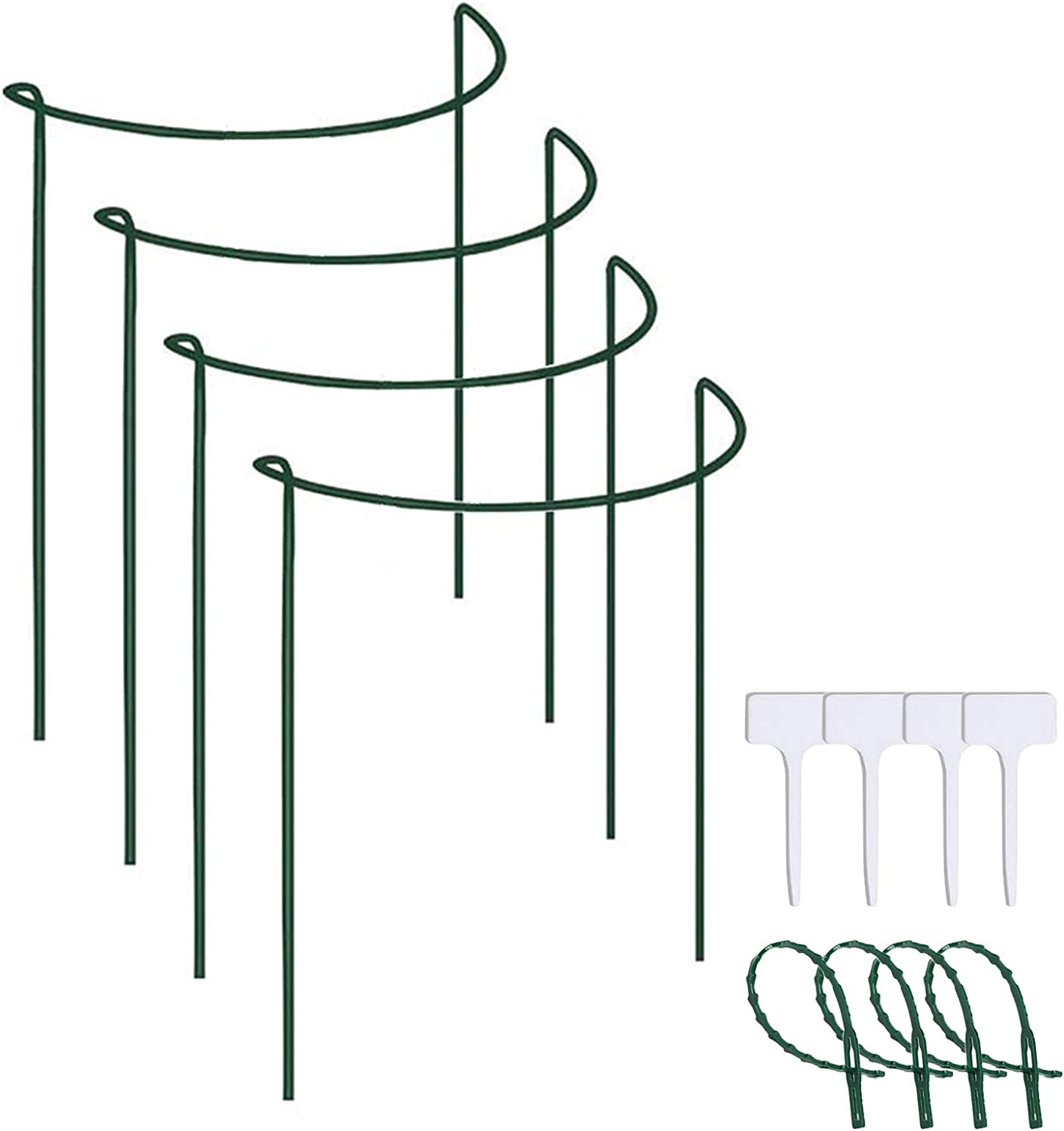 "Fuhakang 27.5"" 4Pcs Plant Support Stake Half Round Ring Metal Stainless Steel Garden Border Path Supports Plant Support Ring Cage for Roses,Hydrangeas,Flowers Vine,Tomato"