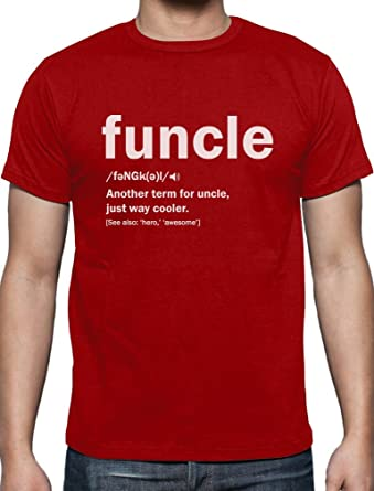 ba99cc6b Funny Uncle Gift Uncle Birthday Present Funcle Definition for Christmas  Uncles T-Shirt Medium Red: Amazon.co.uk: Clothing