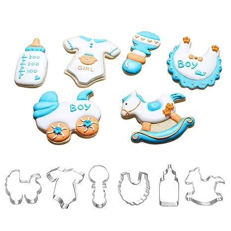 Bebé ducha Cookie Cutter Set – Set de 6 – Onesie, babero, sonajero,