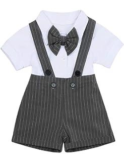 Puseky 2pcs//Set Baby Boys Gentlemen Suit Bow Tie Romper /& Suspender Pants Outfits Color : Light Blue, Size : 18M-24M 6M-12M, Light Khaki
