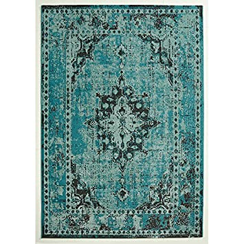 Orientteppich türkis  Design Teppich Vintage Used Antik türkis 140 x 200 cm: Amazon.de ...