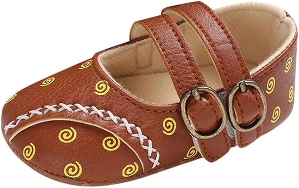 WARMSHOP Newborn Girls Boys Anti-Slip Single Shoes Solid Soft Sole with Buckled Mary Jane Flat Sandals Sneakers