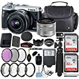 Canon EOS M6 24.2MP Mirrorless Digital Camera (Silver) + EF-M 15-45mm f/3.5-6.3 IS STM Lens (Silver) + 48GB Memory + Filters & Macros + Spider Tripod + Slave Flash + Professional Accessory Kit