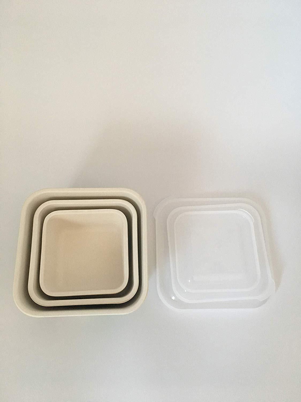 3 Tupper Bambú Infantil,Ecológico sin BPA,Fiambrera desayuno,Ideal para bebé y niño,Apto para lavavajillas-Ufo Azul