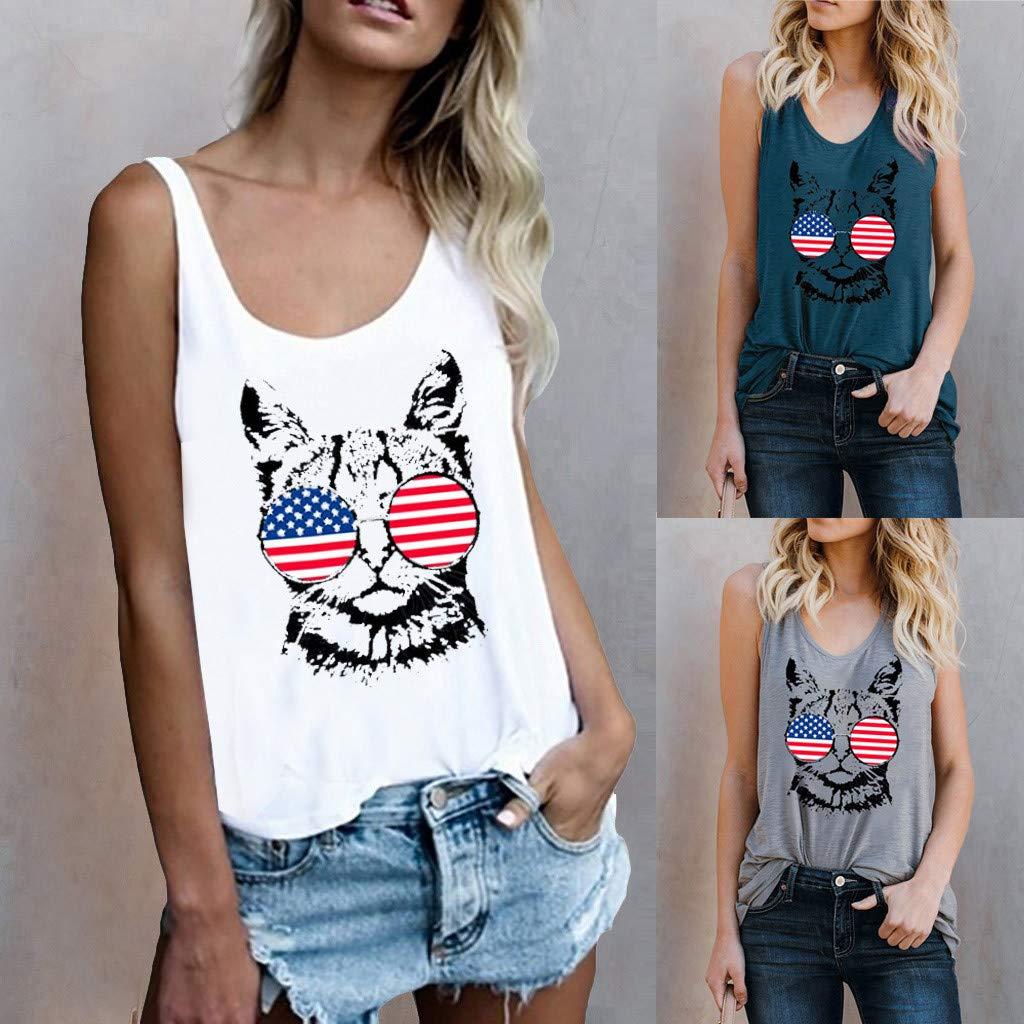 American Flag Bravetoshop America Patriot Cat 4th of July Funny Women Tank Top Sleeveless Sport Vest Blouse
