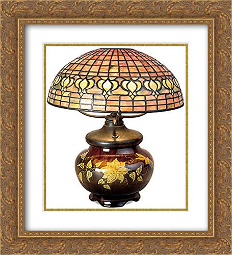 ArtDirect Louis Comfort Tiffany 2X Matted 20x22 Gold Ornate Framed Art Print 'Pomegranate Lamp with Mariposa Pottery Base'
