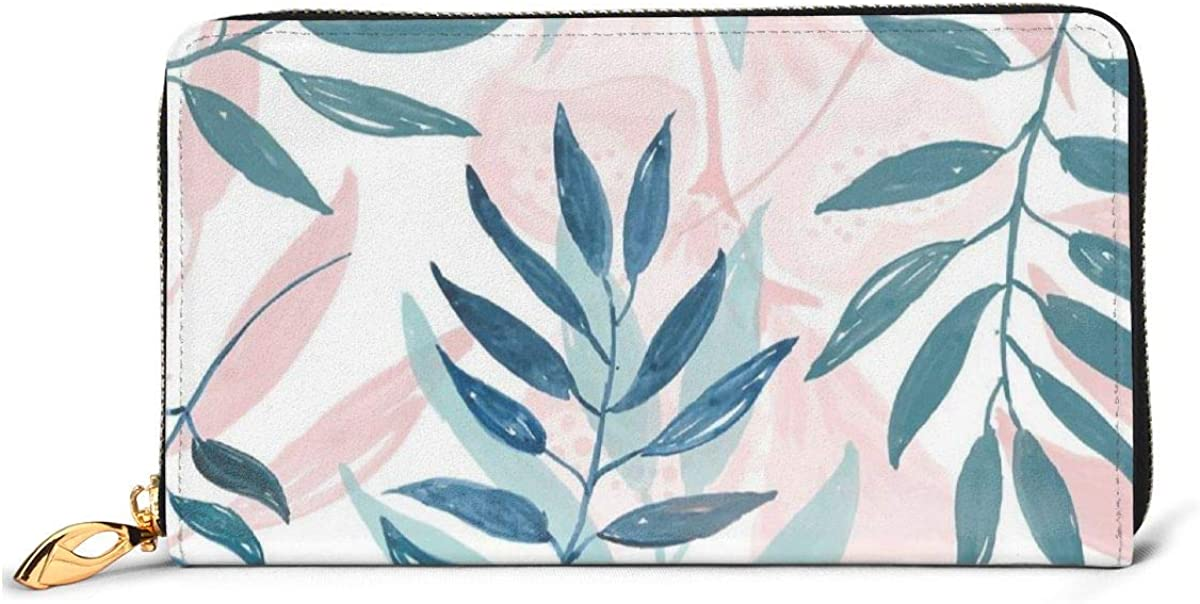 Womens Walllet Zipper Spring Summer Floral Leaves PU Leather Long Wallet for Banknote Credit Card