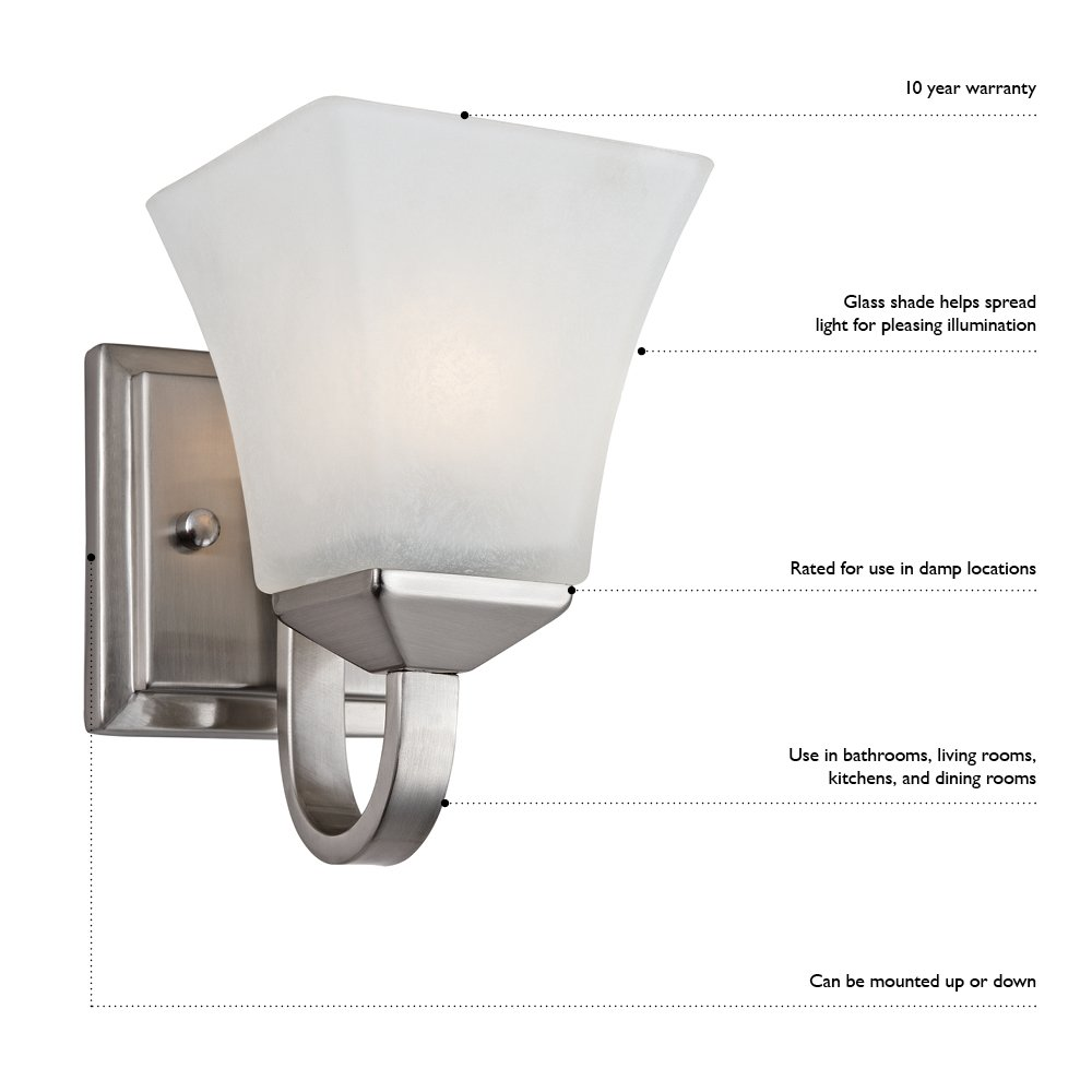 Design House Torino Light Wall Light Satin Nickel Wall - Bathroom vanity lights facing up or down