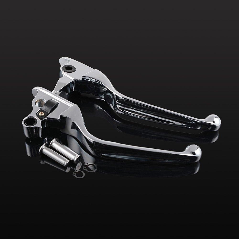 1 Pair Aluminum Ergonomic Designed Brake Clutch Levers for 2008-2013 Harley-Davidson Touring (Chrome/Black) (Chrome)