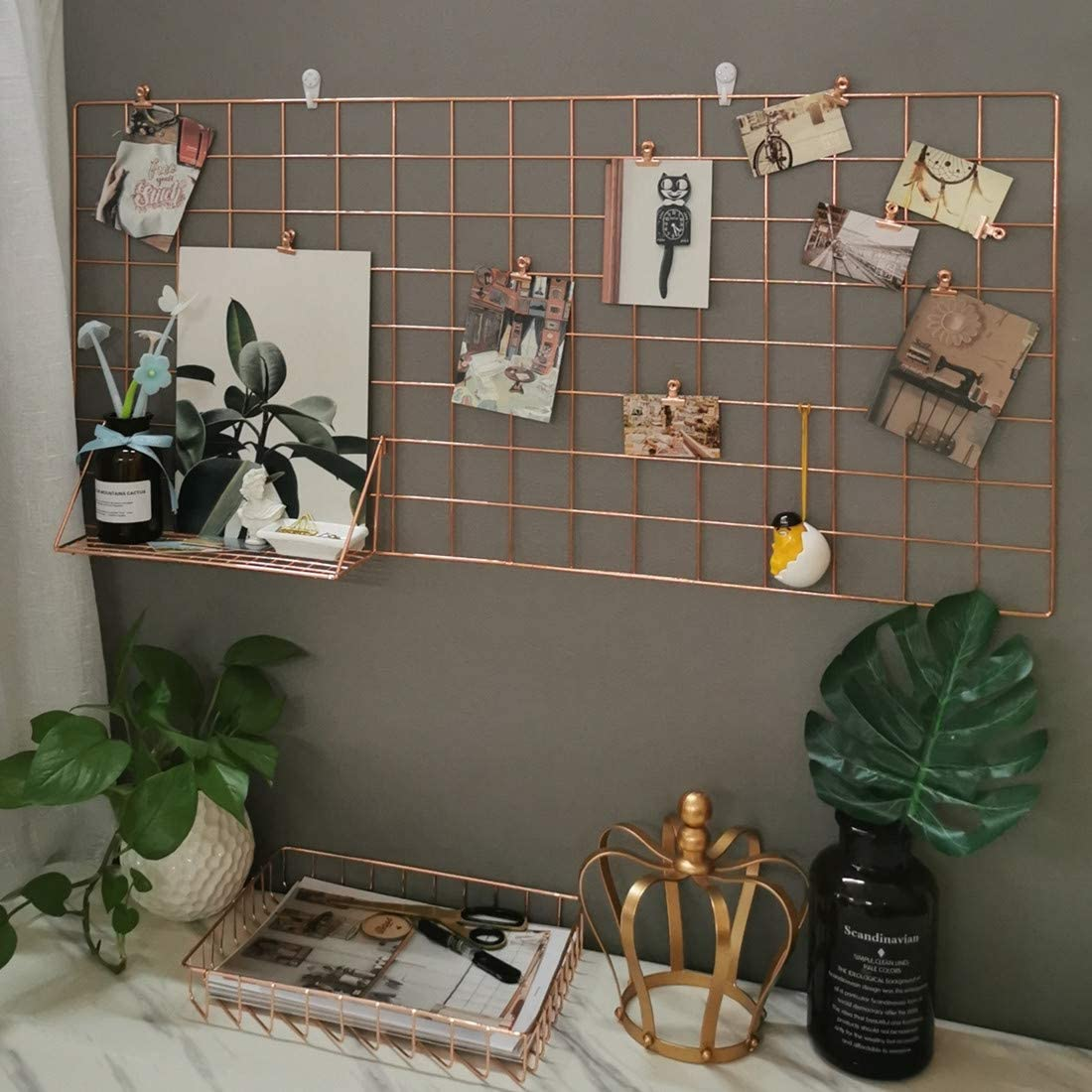 GRIDYMEN Multifunction Electroplated Bling Metal Mesh Grid Panel, Wall Photo Artwork Display and Organizer for College Dorm Living Room, Pack of 1 Pcs, 17.7