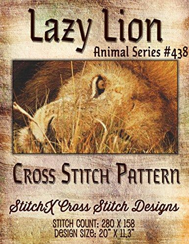 Lazy Lion Cross Stitch Pattern - Jungle Cat Photo-realistic Design - Beautiful Needlework Pattern
