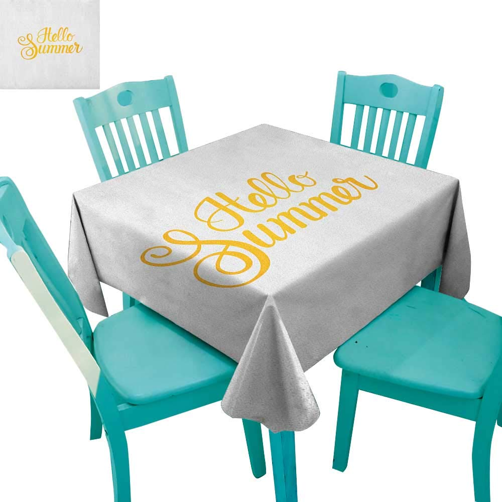 """Antufour Hello Summer Washable Tablecloth Hello Summer Phrase Print in Zesty Yellow Hand Lettering Calligraphic Design 70""""x70"""",Suitable for Kitchen, dustproof Desktop Decoration"""