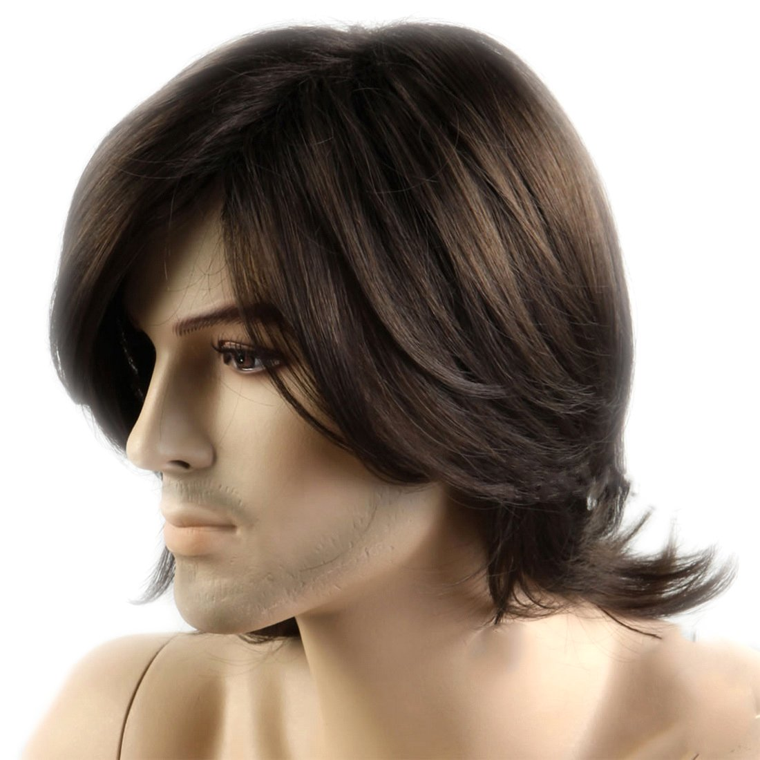Men's Short Dark Brown Wigs Short Wigs Middle