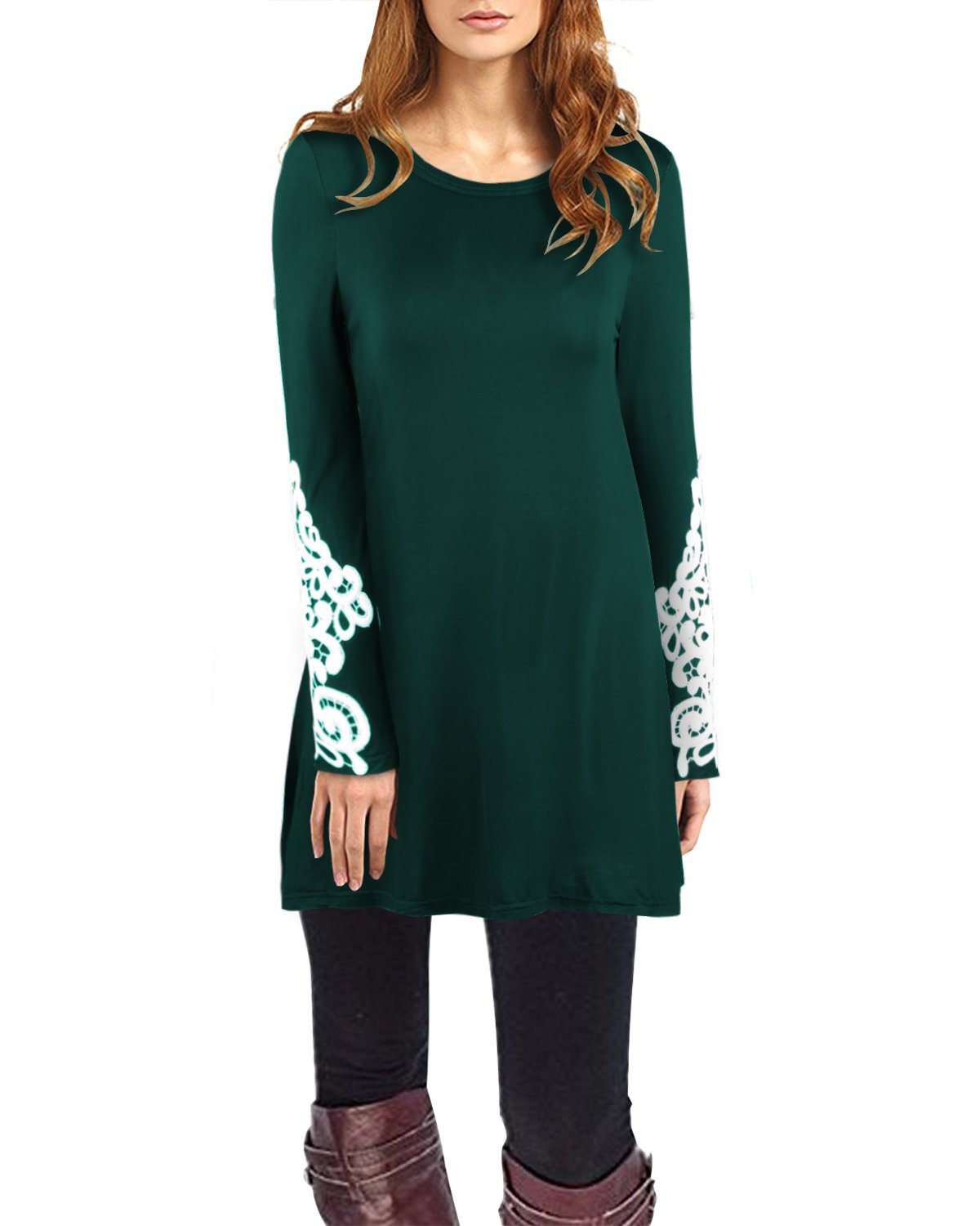 OUGES Women's Long Sleeve Lace Casual Loose Tunic Tops(Green,M)