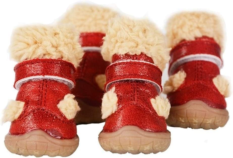 ZZYUBB 4 PC/Zapatos del Perro Caliente del Invierno De La Nieve Botas De Cuero Ajustable con Correas Calzado Impermeable Perrito Anti Slip (Color : Red, Size : 2)