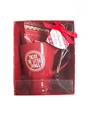 New Hot Chocolate Mug With Marshmallows, Mix & Whisk Gift Set Red ...