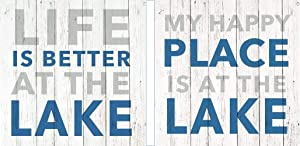 Bundle of 2 (20 ct) Blue White Paper Beverage Napkins, Life Is Better At The Lake, My Happy Place Is At The Lake