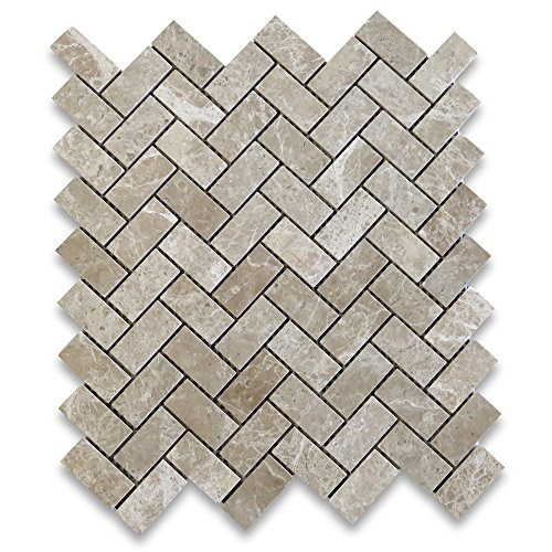 Emperador Light Marble Herringbone Mosaic Tile 1 x 2 Polished